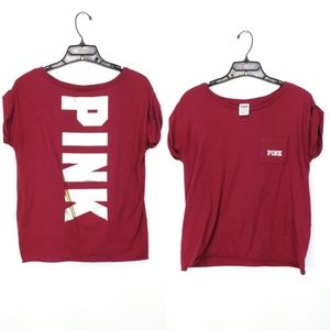 Dark red Pink by Victoria Secret rolled sleeve tee